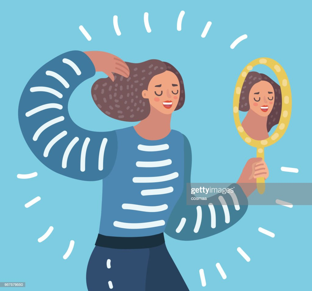 Woman watching a mirror