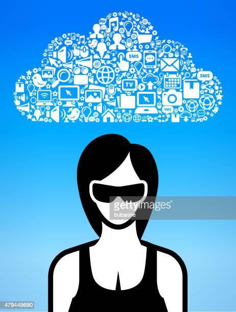 ilustrações, clipart, desenhos animados e ícones de mulher usando óculos 3d e experiência conjunto de ícones de realidade virtual - www