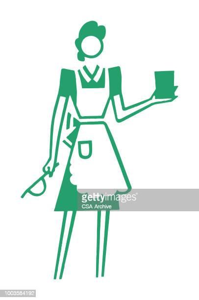 woman wearing apron - maid stock illustrations, clip art, cartoons, & icons