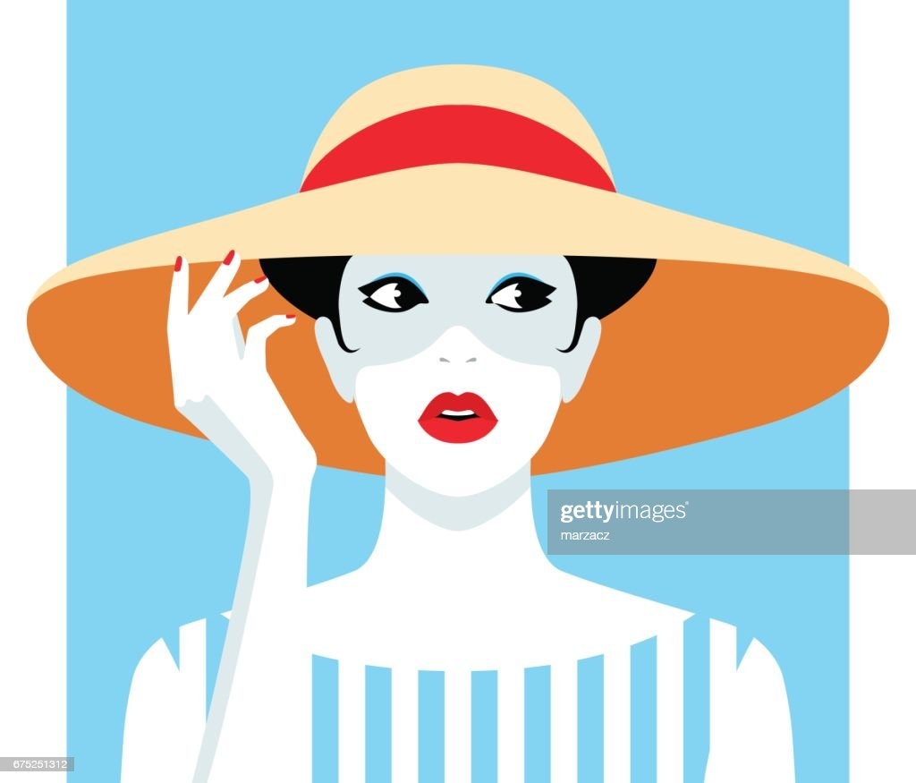 Woman wearing big hat