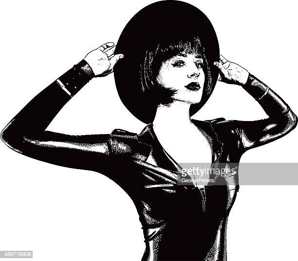 Woman Wearing Black Latex Suit and Bolero Hat
