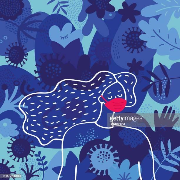 bildbanksillustrationer, clip art samt tecknat material och ikoner med kvinna bär ansiktsmask omgiven av virus - munskydd ensam