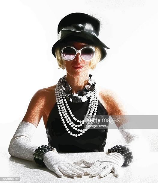 Mujer usando moda Vintage de alta calidad
