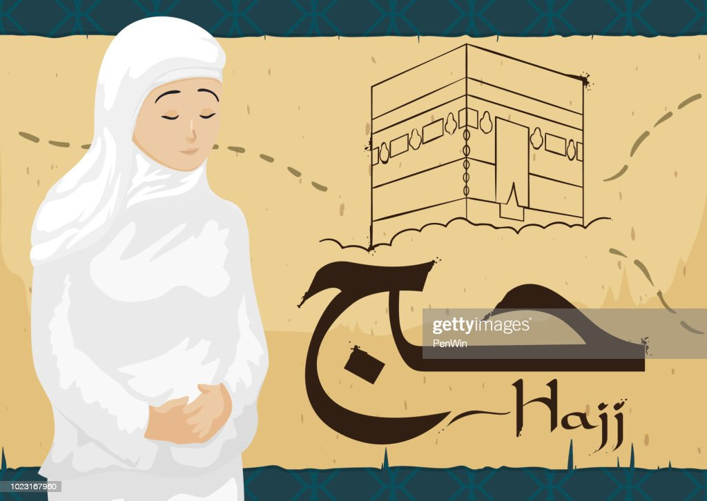 Woman Wearing Ihram over Scroll with Mecca Draw during Hajj