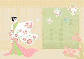"""Woman wearing """"kimono""""."""