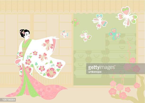 "woman wearing ""kimono"". - geisha stock illustrations, clip art, cartoons, & icons"