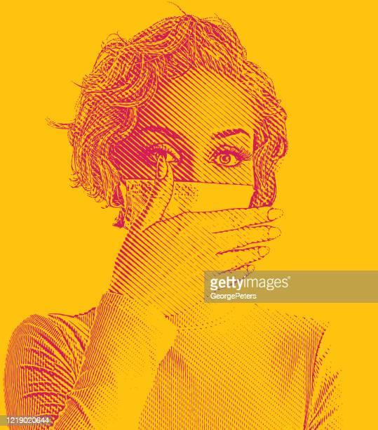 ilustrações, clipart, desenhos animados e ícones de mulher usando máscara facial protetora e cobrindo tosse - female surgeon mask