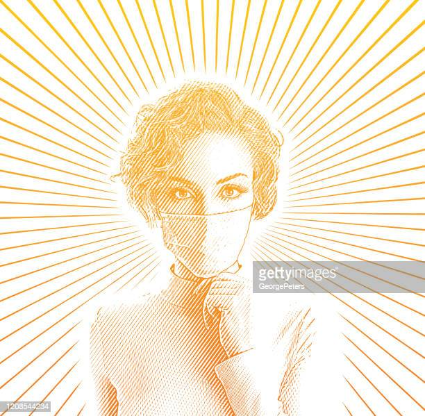 woman wearing protective face mask to avoid virus - conspiracy stock illustrations