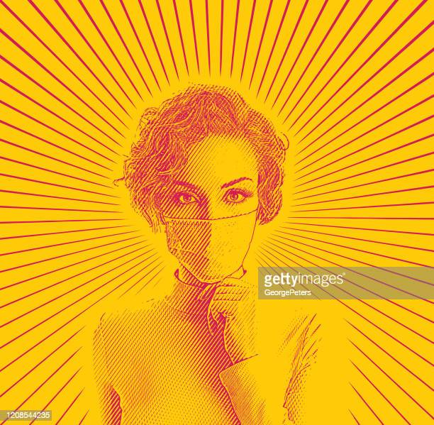 woman wearing protective face mask to avoid virus - woman wearing protective face mask stock illustrations