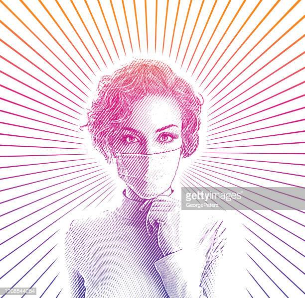 frau trägt schützende gesichtsmaske, um viren zu vermeiden - grippeschutzmaske stock-grafiken, -clipart, -cartoons und -symbole
