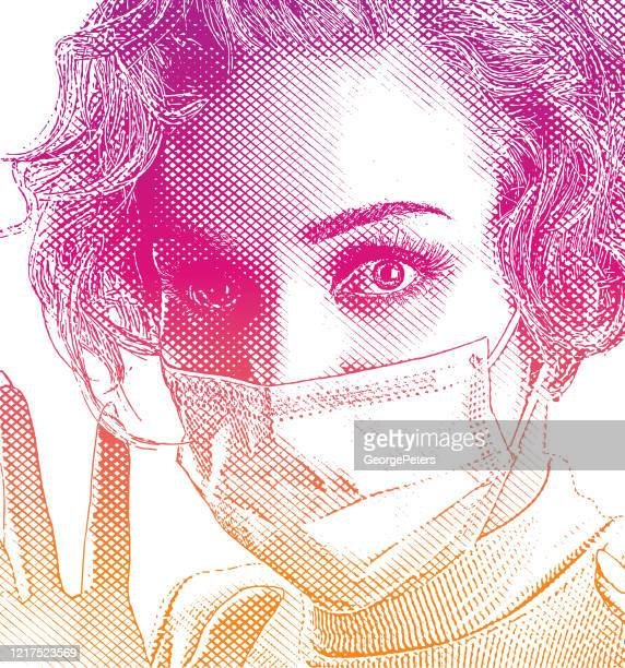 woman wearing protective face mask with worried facial expression - woman wearing protective face mask stock illustrations
