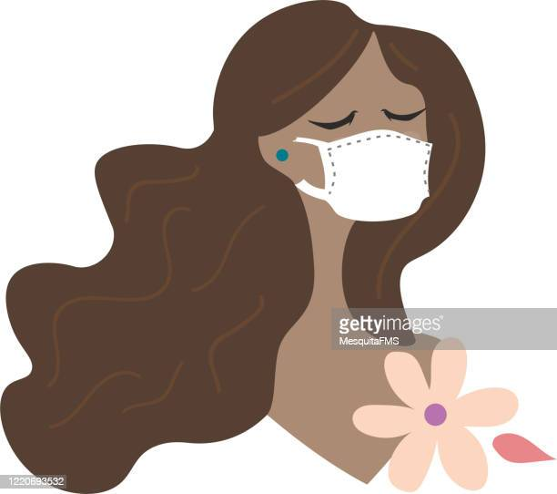 woman wearing protective mask - woman wearing protective face mask stock illustrations