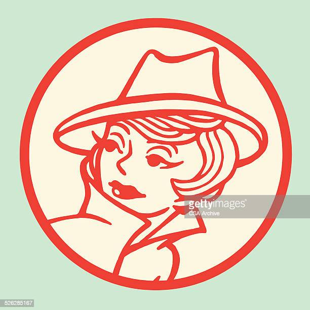 woman wearing stylish hat - detective stock illustrations