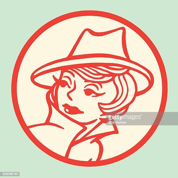 ilustraciones, imágenes clip art, dibujos animados e iconos de stock de mujer usando sombrero elegante - detective