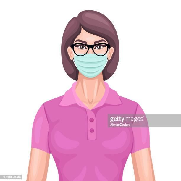 ilustrações, clipart, desenhos animados e ícones de mulher usando máscara cirúrgica. - female surgeon mask