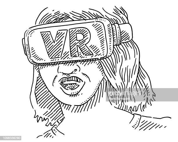 Frau trägt VR Brille Zeichnung