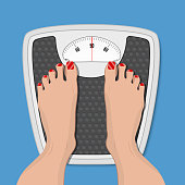 woman weighed on floor scales,