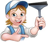 Woman Window Cleaner Cartoon Character