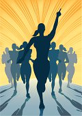 Woman winning a sprint race