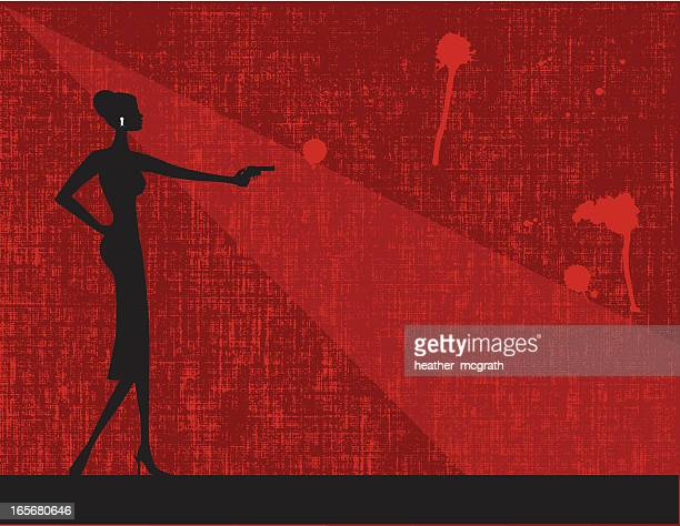 Woman with a gun in red background illustration