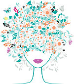Woman with a head full of colorful floral silhouette