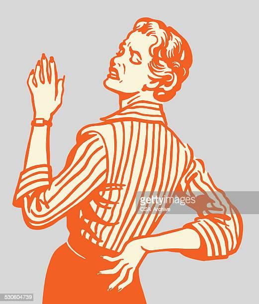 illustrations, cliparts, dessins animés et icônes de femme avec des douleurs du dos - mal de dos