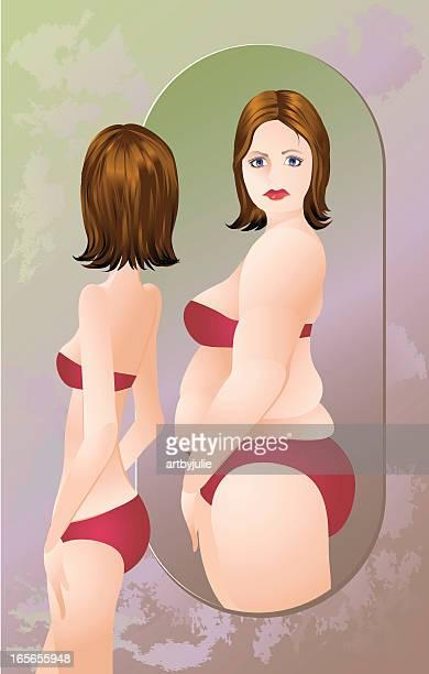 Mulher com anorexia ou bulimia em um fato de banho