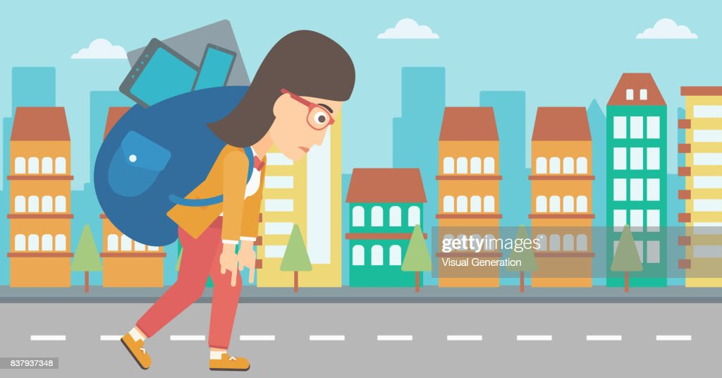 Woman with backpack full of devices