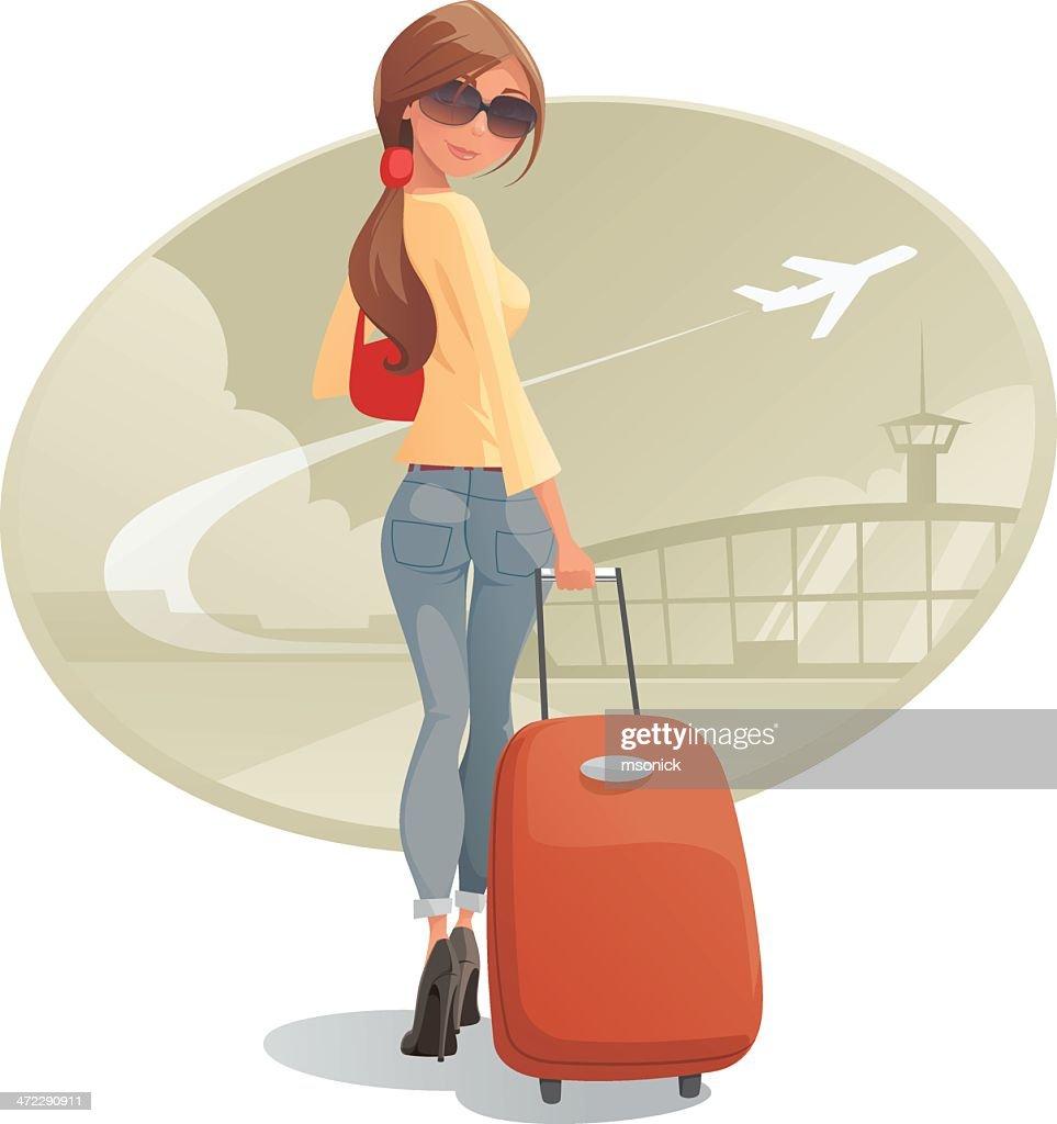 Mujer con equipaje : Ilustración de stock