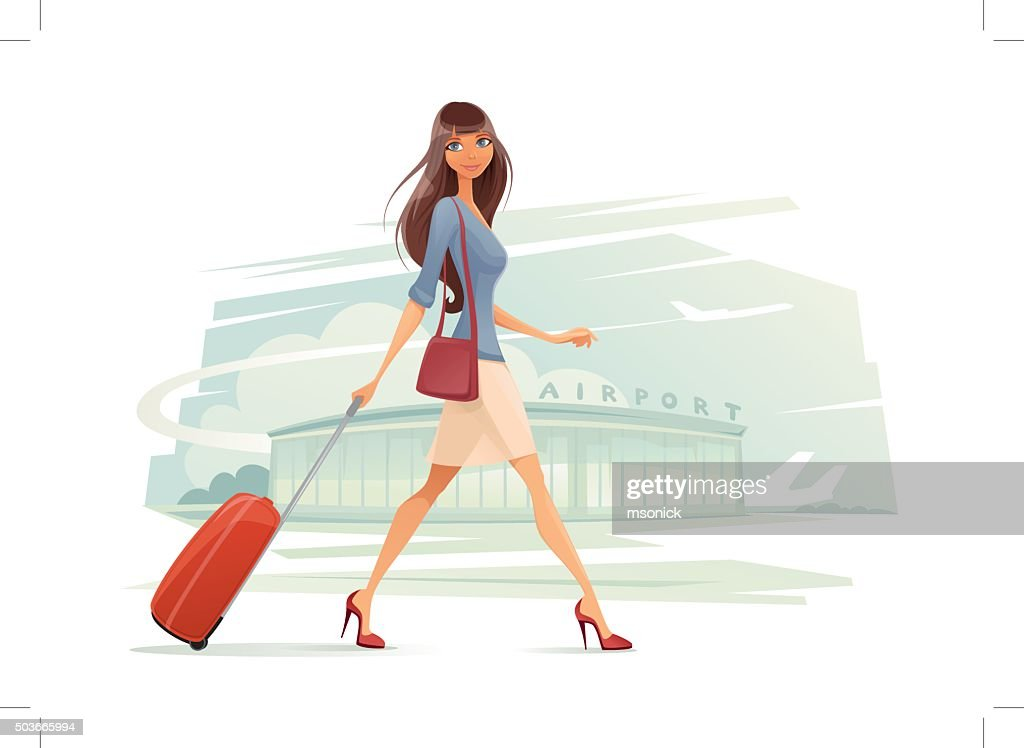 Woman with Baggage : stock illustration