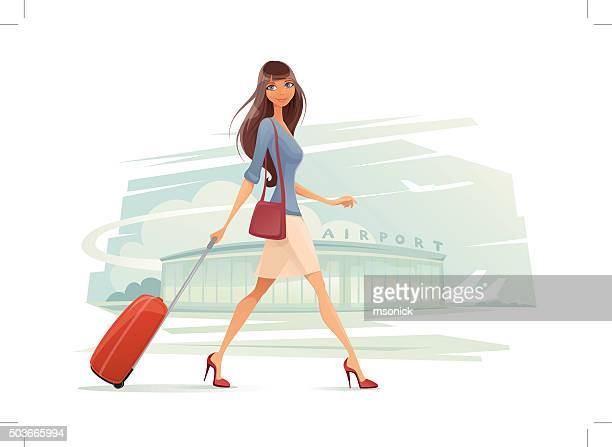 woman with baggage - tourist stock illustrations