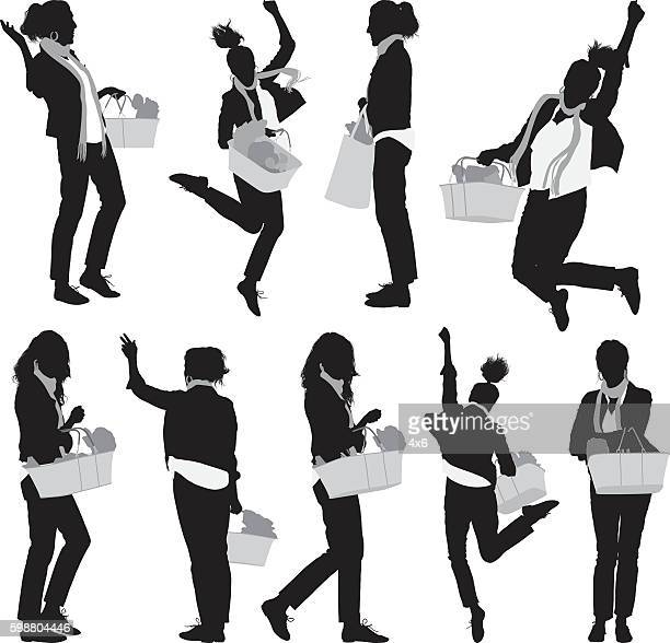woman with basket and cheering - updo stock illustrations, clip art, cartoons, & icons