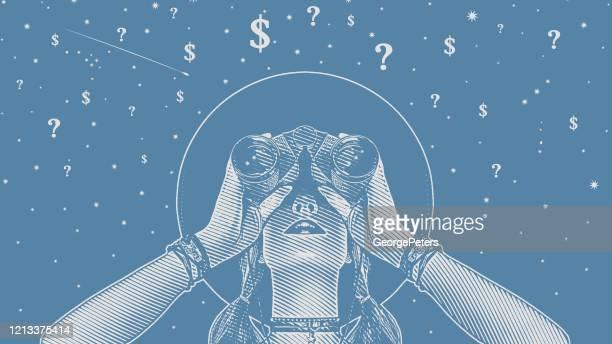 ilustraciones, imágenes clip art, dibujos animados e iconos de stock de mujer con prismáticos buscando soluciones a la incertidumbre financiera - economía