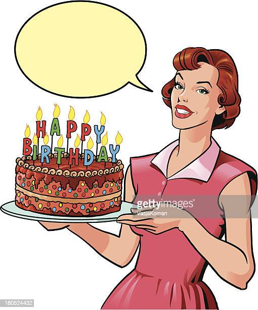 woman with birthday cake - birthday cake stock illustrations, clip art, cartoons, & icons