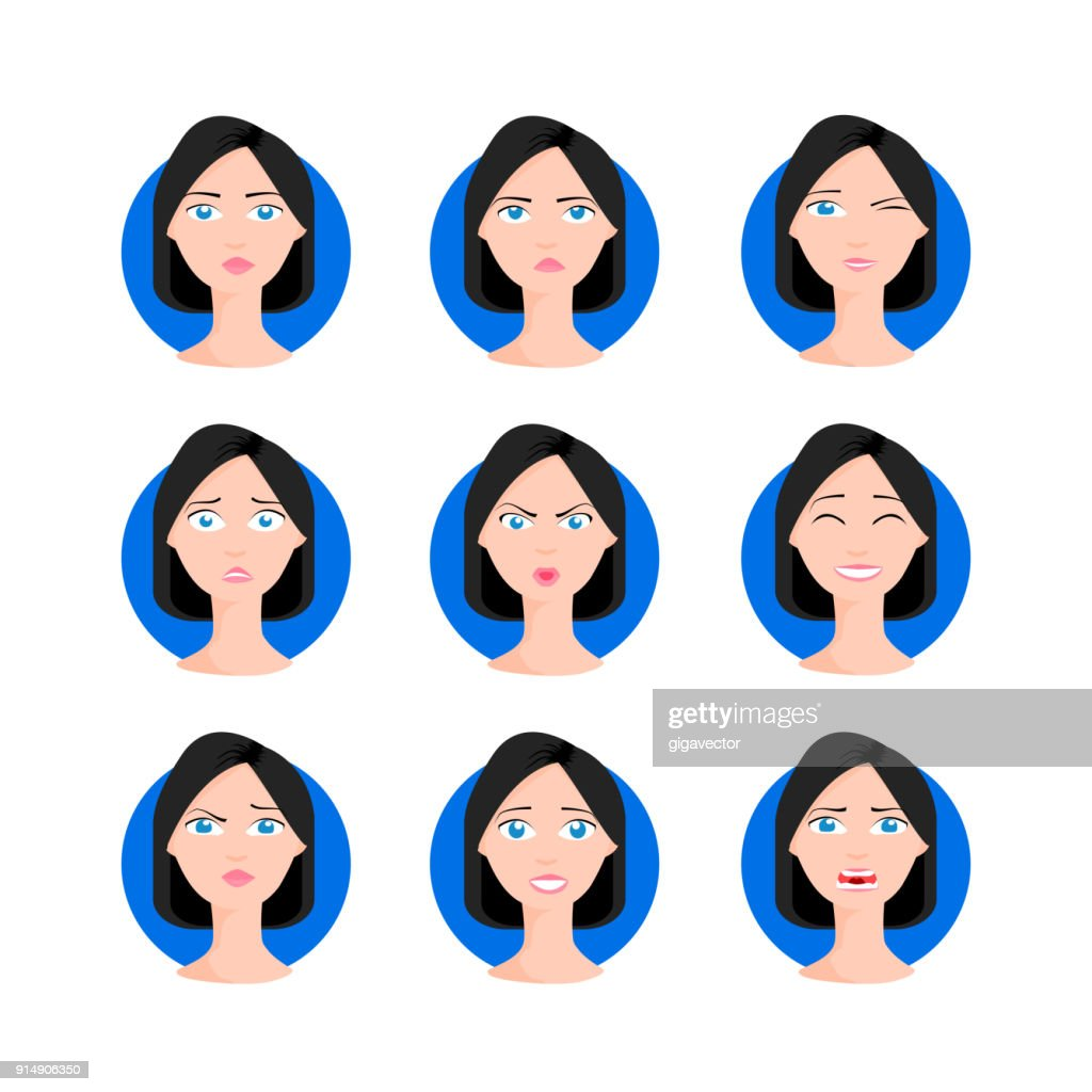 Woman with bob haircut set illustration