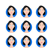 Woman with bob haircut set illustration