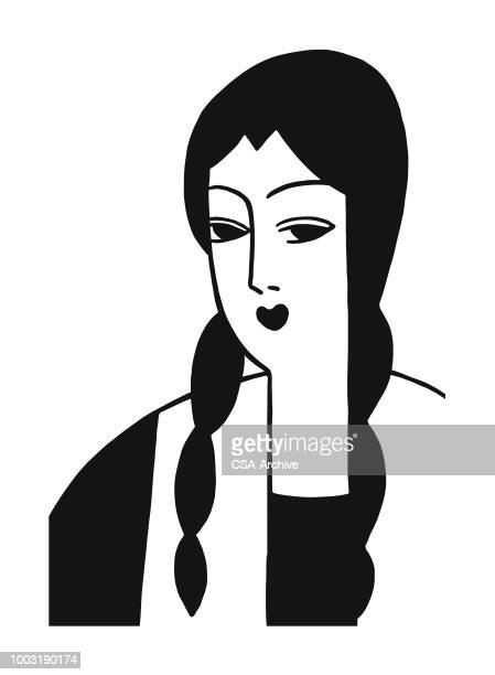 woman with braids - braided hair stock illustrations, clip art, cartoons, & icons