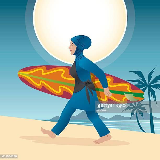 Woman With Burqini holding Surfboard