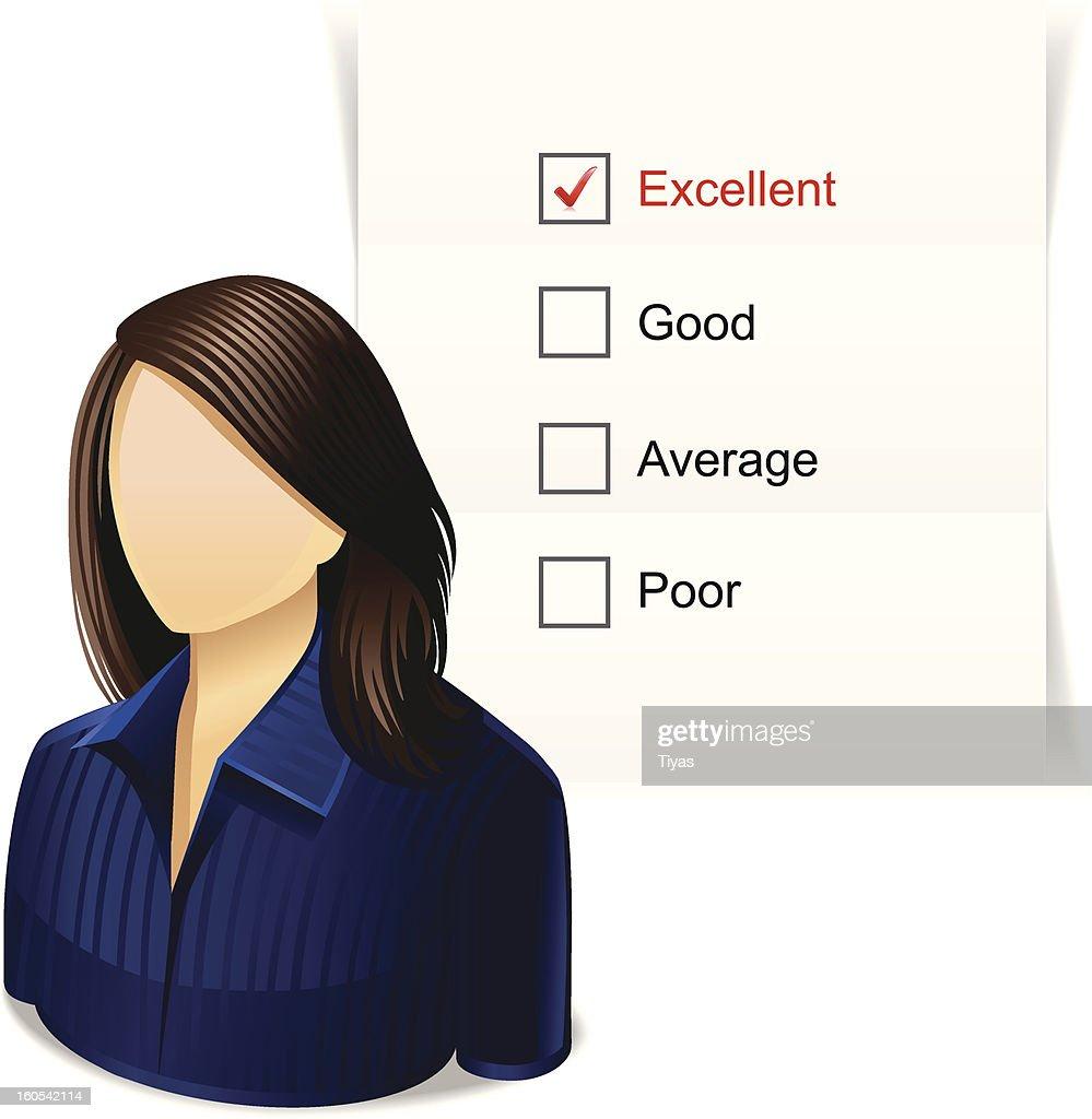 Mulher com lista de verificação : Ilustração