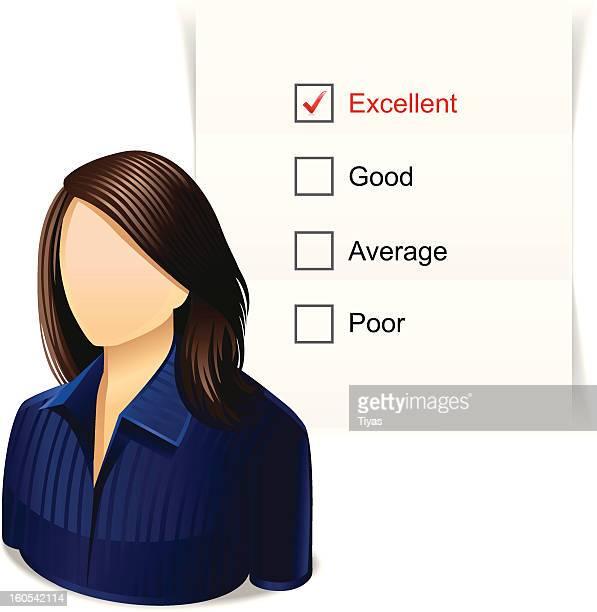 ilustrações, clipart, desenhos animados e ícones de mulher com lista de verificação - preencher um formulário