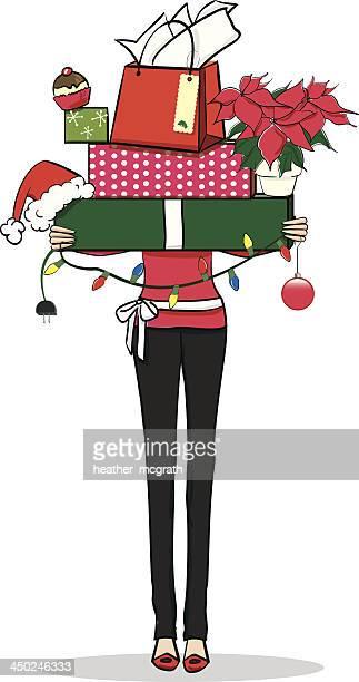 Frau mit Weihnachten präsentiert