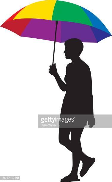 stockillustraties, clipart, cartoons en iconen met vrouw met kleurrijke paraplu silhouet - strandparasol