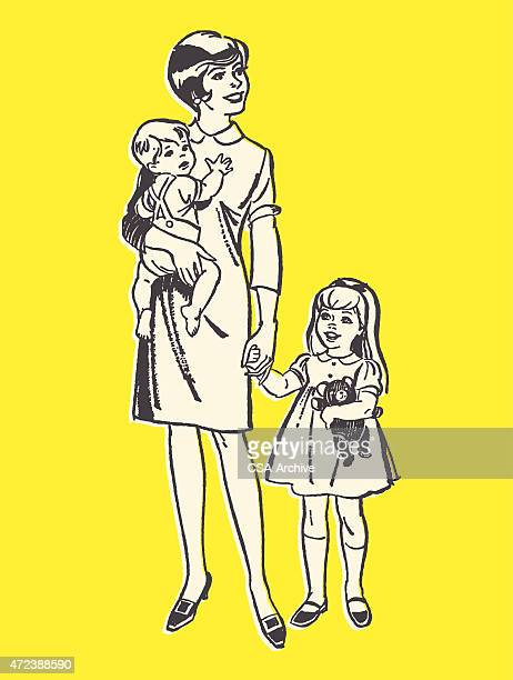 woman with daughter and baby - carer stock illustrations, clip art, cartoons, & icons