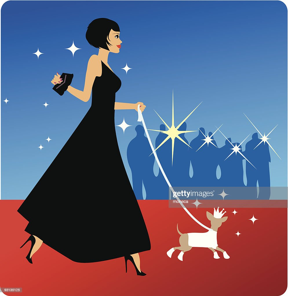 Woman With Dog on Red Carpet Event