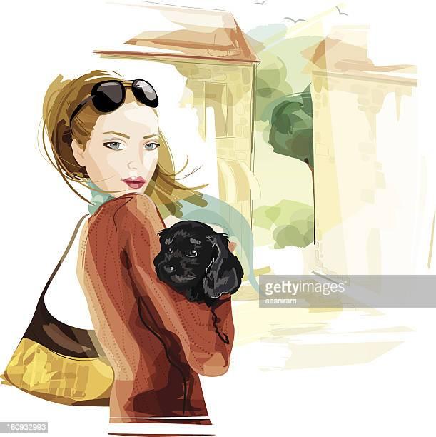 ilustraciones, imágenes clip art, dibujos animados e iconos de stock de mujer con perro - social grace