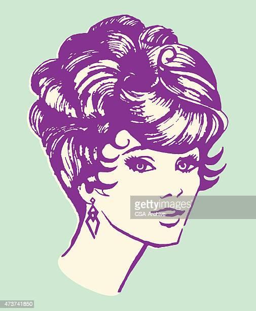 女性、おしゃれなヘアスタイル - updo点のイラスト素材/クリップアート素材/マンガ素材/アイコン素材