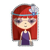 woman with flower in the hair icon