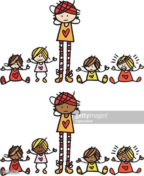 illustrations, cliparts, dessins animés et icônes de femme avec quatre bébés - assistante maternelle
