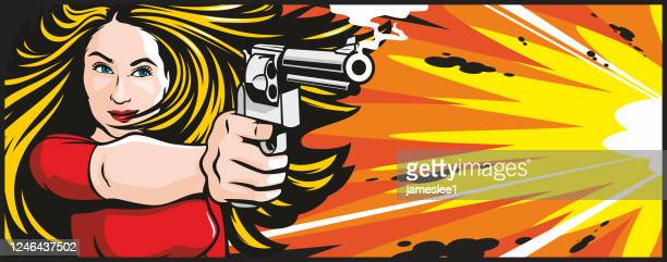 woman with gun - action movie stock illustrations
