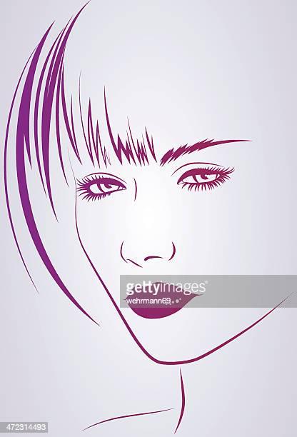 ilustrações de stock, clip art, desenhos animados e ícones de meio mulher com cabelo curto - cabelo liso